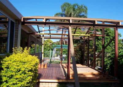 Timber deck low to ground