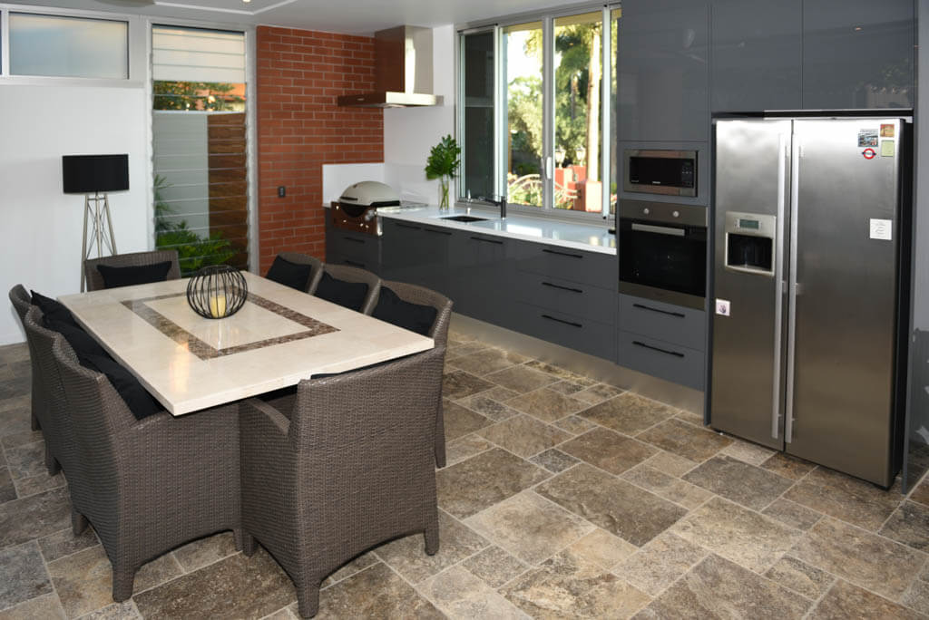 Entertaining Area Equipped With Functional Kitchen And Dining Area