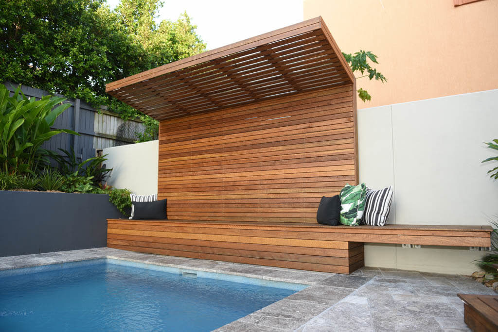 Sealed Wooden Bench And Shade Cover In Outdoor Entertaining Area, Yeronga.